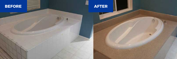 Poliranje kopalniške kopalnice pred in po njej
