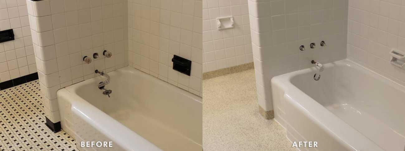 Hotel shower before and after refinishing