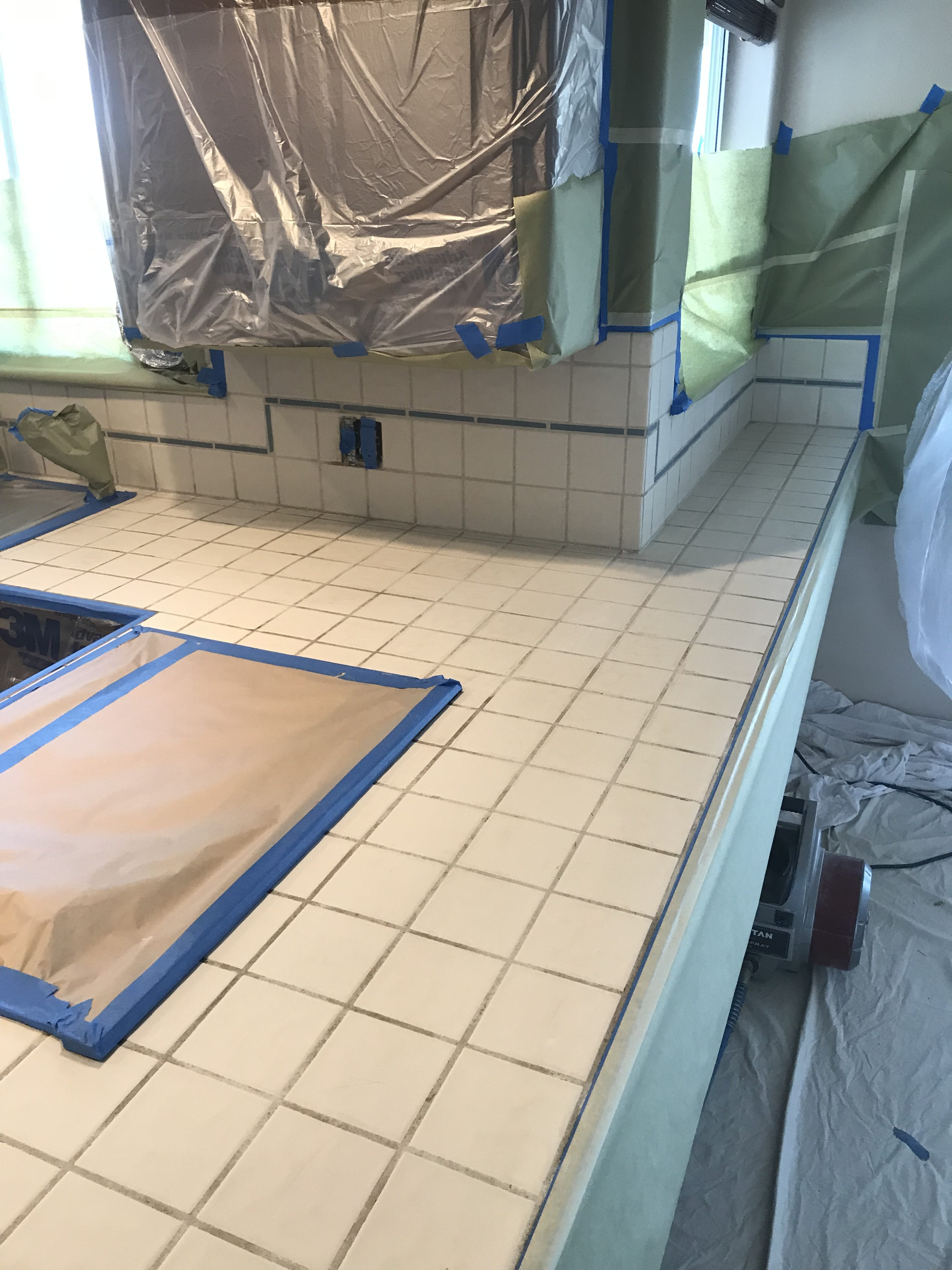 Kitchen Countertop Tile Resurfacing Before - NuFinishPro