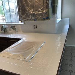 Kitchen countertop tile after refinishing