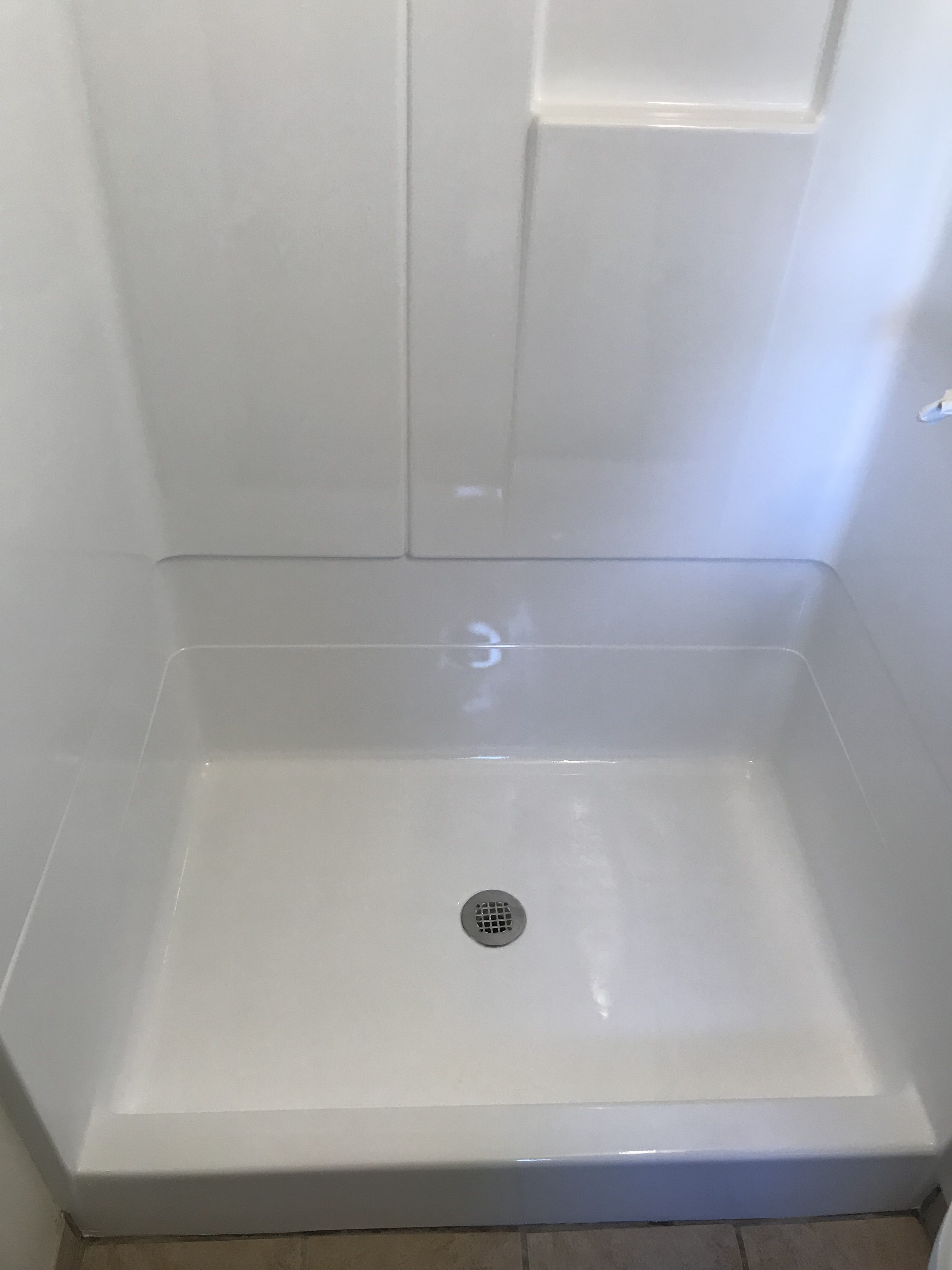 Shower Pan Resurfacing And Wall After - NuFinishPro