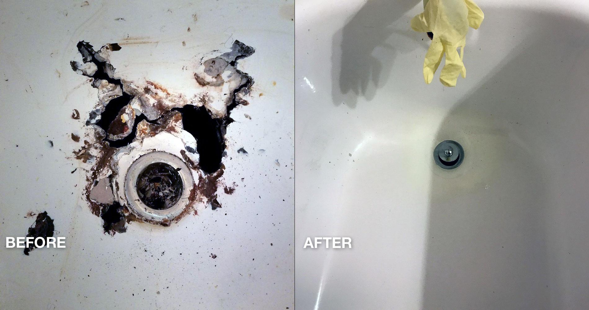 Bathtub refinishing before and after - NuFinishPro