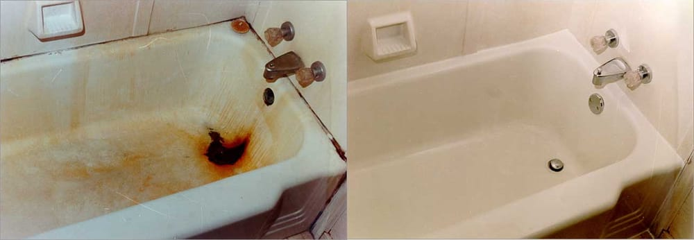 Bathtub refinishing before and after - NuFinishPro