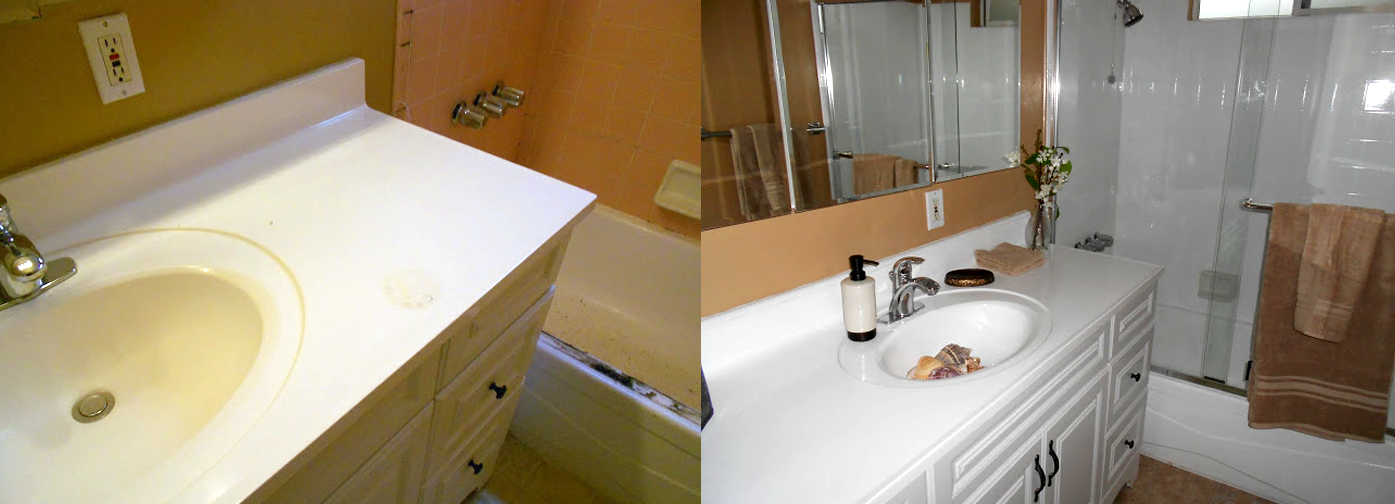 NuFinishPro bathroom vanity resurfacing before & after