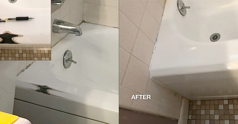 Hotel bathtub repair before and after refinishing