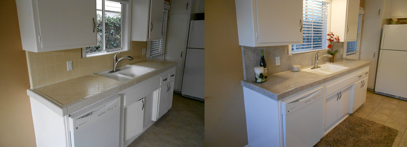 NuFinishPro kitchen tile resurfacing before & after