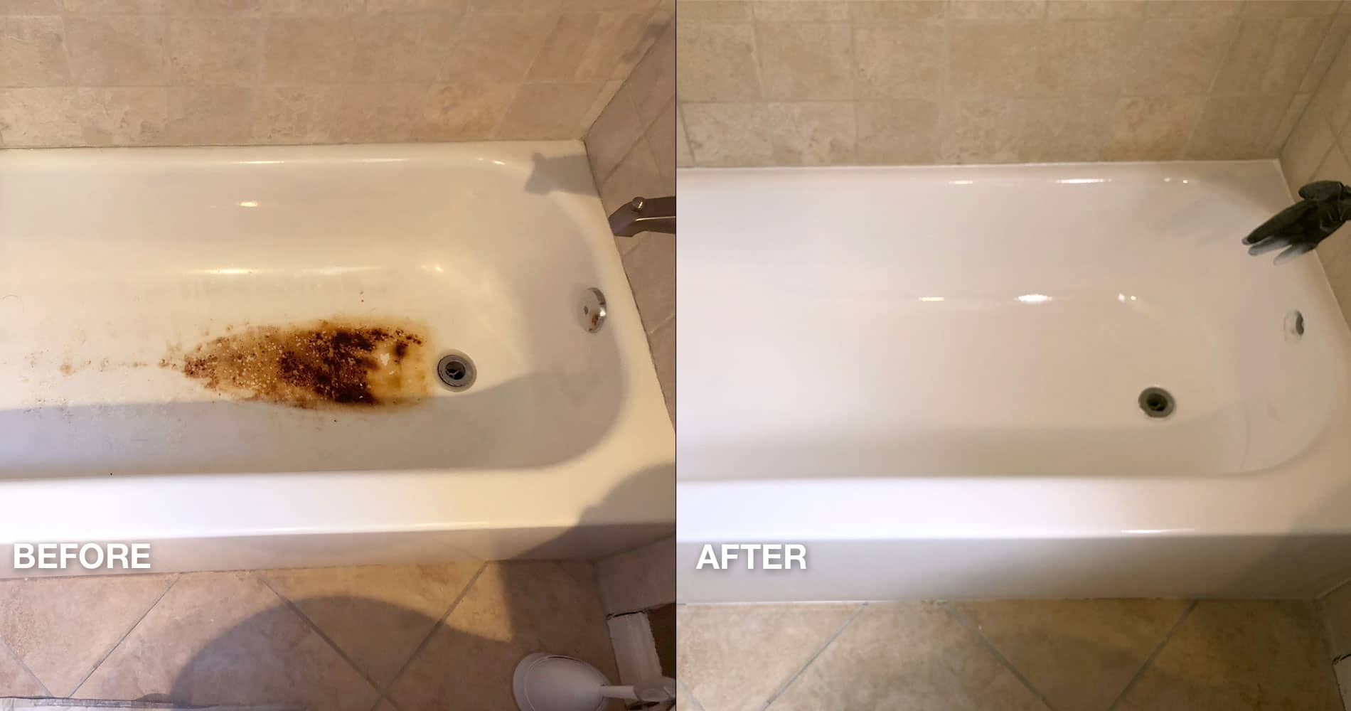 Rusted tub repair before & after - NuFinishPro