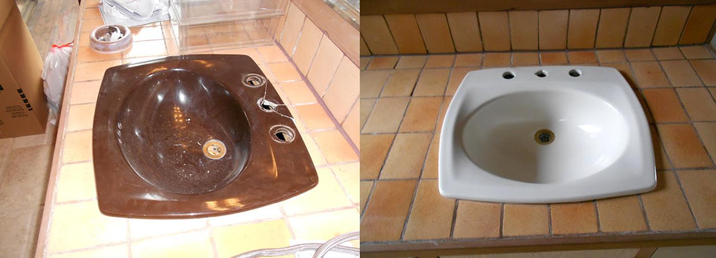 NuFinishPro Sink Reparatie voor en na