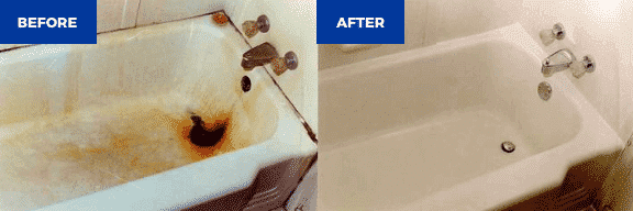 Bathtub refinishing before and after photo - NuFinishPro