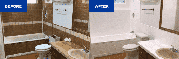 Bathroom tile resurfacing and bathtub refinishing before and after - NuFinishPro