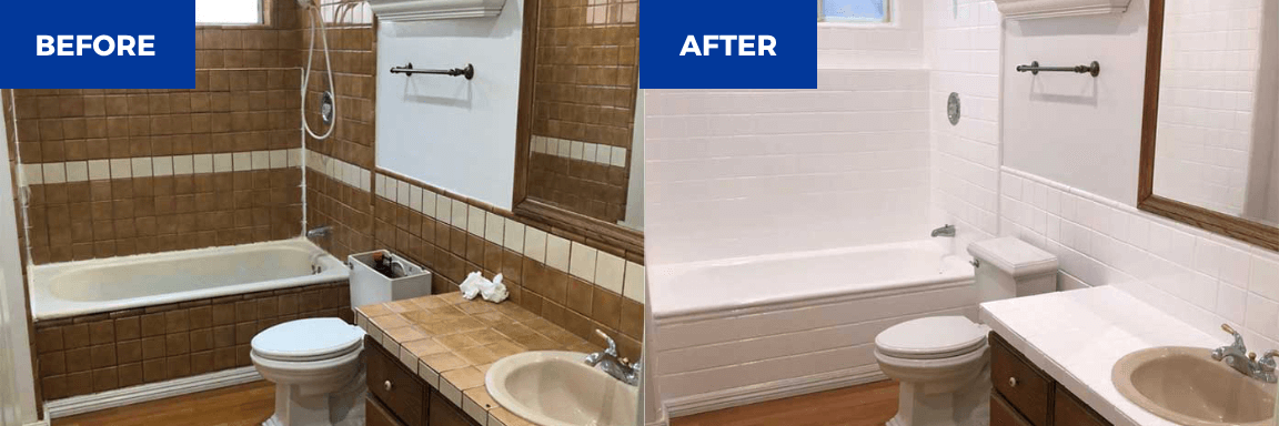 Bathroom tile resurfacing and bathtub refinishing before & after - NuFinishPro