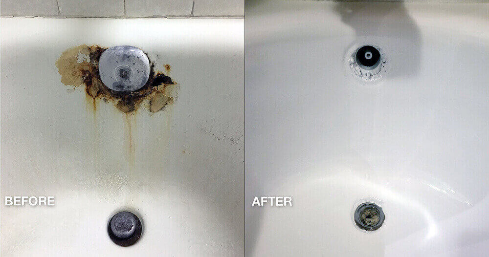 Hotel bathtub refinishing rust overflow repair - NuFinishPro