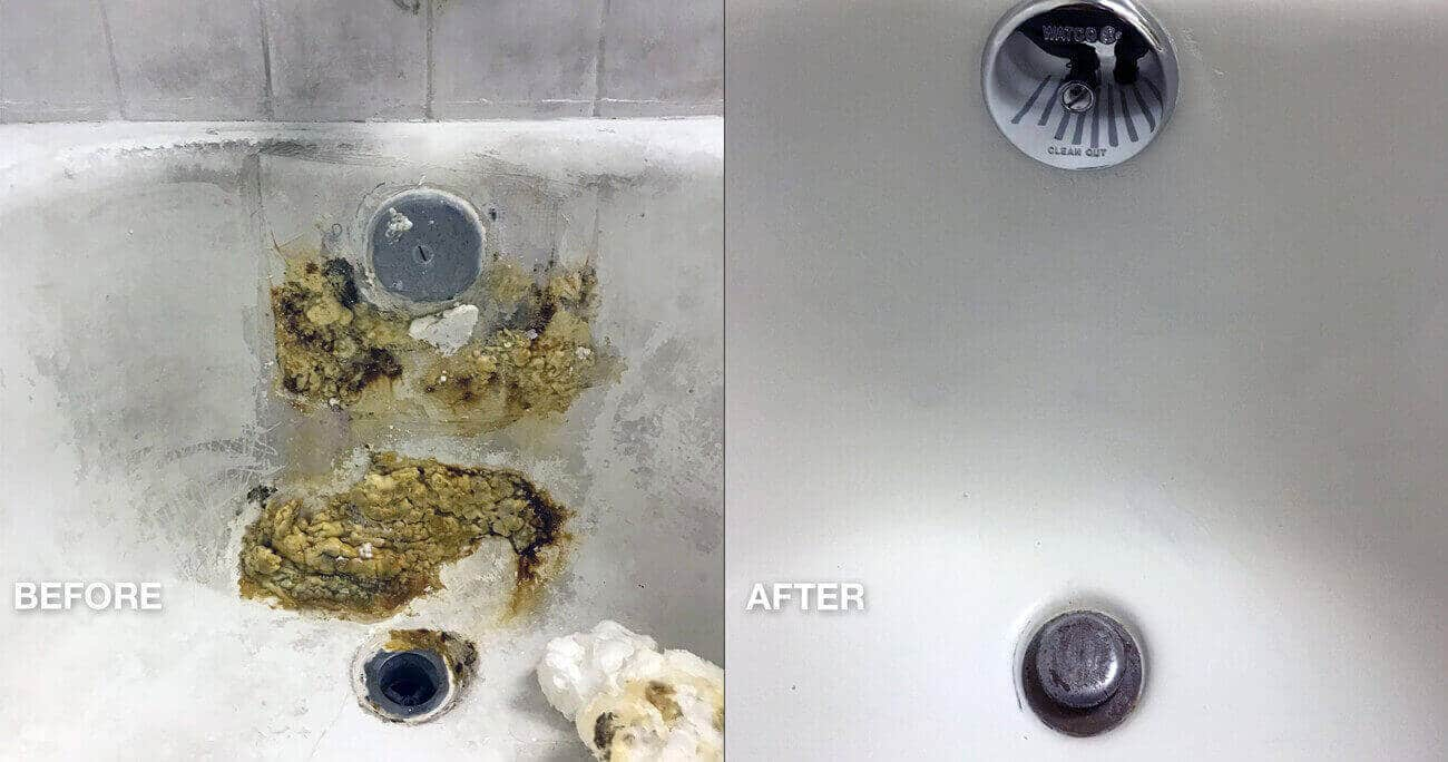 Hotel bathtub damage and rust spot repair before and after work done- NuFinishPro
