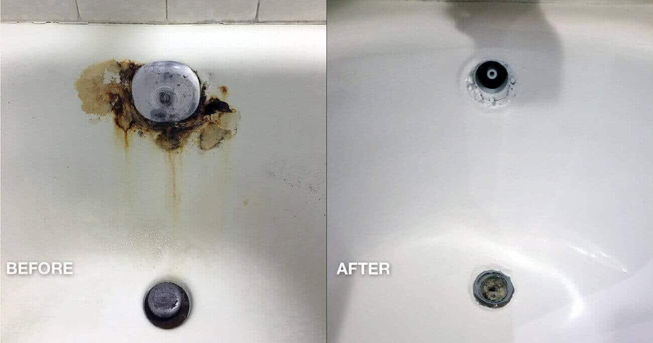 Hotelbad Roestgat Spot Reparatie voor en na het werk - NuFinishPro