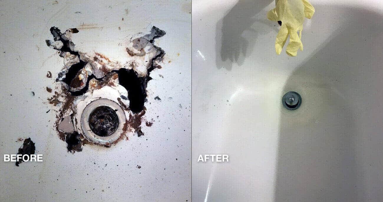 Hotelbad Roestschade Vlekreparatie voor en na het werk - NuFinishPro