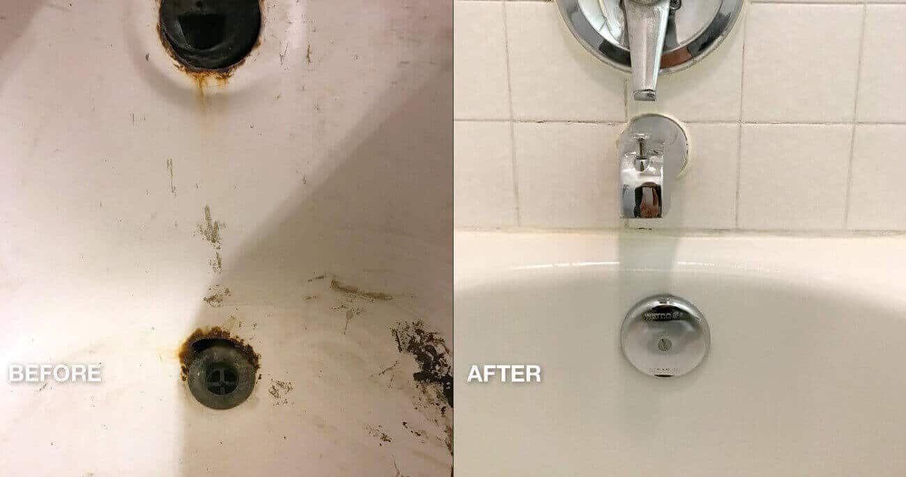 Hotel Bathtub Spot Repair voor en na het werk - NuFinishPro