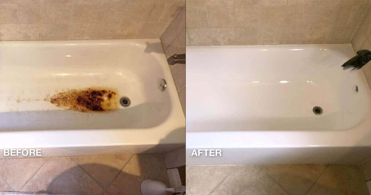 Hotel bathtub floor rust spot repair before and after work done- NuFinishPro