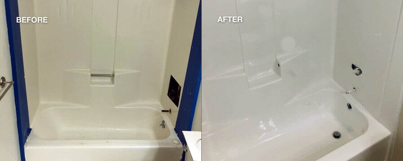 Refinishing Bathtub And Shower Enclosure Before After