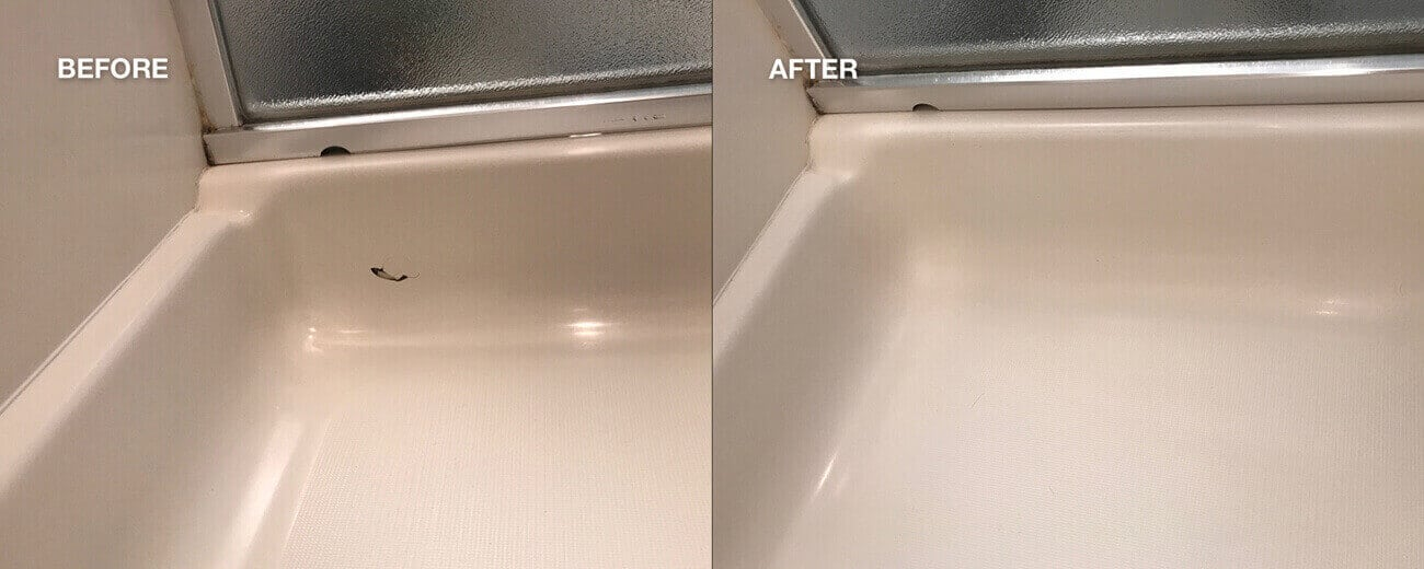 Shower resurfacing repair before and after work done - NuFinishPro